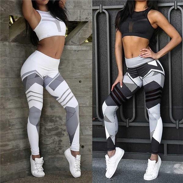 女性スポーツレギンス弾性パンツタイトランニングパンツスタイリッシュ幾何学印刷パンツ