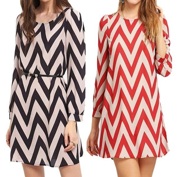 4色女性のドレス新しい夏の秋のファッション女性のセクシーな波のパターンウォーターリップルは長袖を印刷