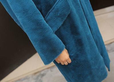 ファーコート ロング丈 ガウンコート Vネック フード ゆったり リラックス ゆるシルエット 体型カバー 秋冬 ブルー 女子会 オフィスカジュアル アウター