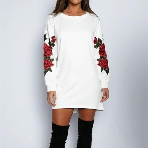 セクシーな女性の刺繍長袖ニットスウェットジャンパーセータートップスプルオーバー