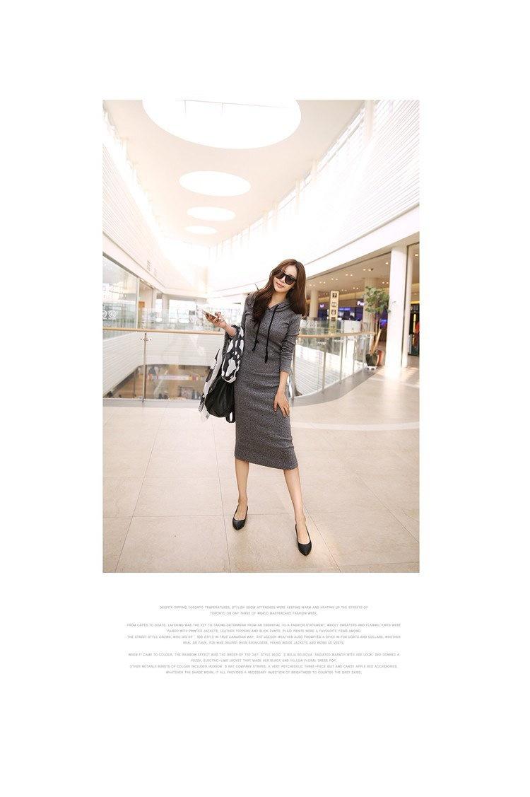 新しい 2016秋と冬の女性床の長さ の ドレス カジュアル ヒップ長い スタイル フード付き ドレス レディー肥厚DressM15322