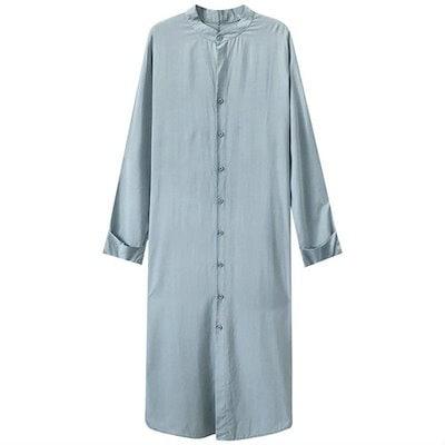 A1244 ゆったりシャツワンピース 長袖 水色