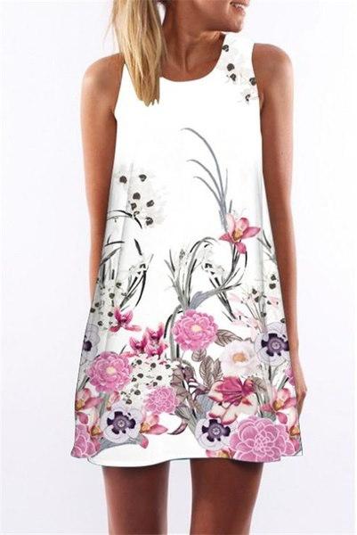 ファッション女性のドレスカジュアルなデジタルプリントドレス夏の花の花ノースリーブOネックショートドレス