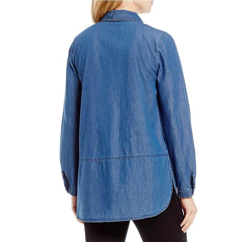 イントロ レディース トップス ブラウス・シャツ【Intro Petite Roll-Tab Sleeve Denim Floral Embroidered Button Front Shirt】Me