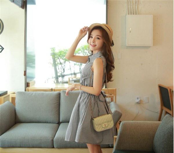 レディースワンピース 韓国無地 スリム 韓国のファッション ノースリーブワンピース  プリントワンピース  開襟 学院風 ハイセンス 着心地いい おしゃれ 夏 スリム セール★ レディースワンピース