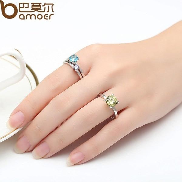 BAMOERファッションプラチナメッキセットリング、女性用3色ジルコンクリスタルの記念日の宝石