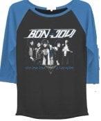 Bon Jovi Juniors  Band Group Pose Drapey 3/4 Sleeve Graphic Baseball T-Shirt