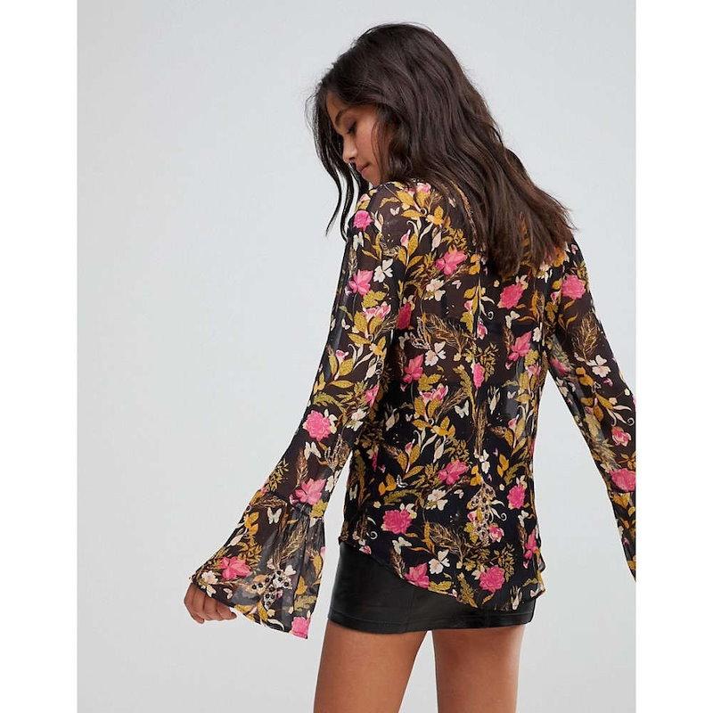 ミリー マッキントッシュ レディース トップス ブラウス・シャツ【Millie Mackintosh Rose Print Embroidery Blouse】Black leopard