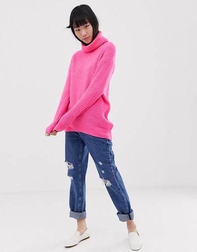 ニュールック レディース ニット・セーター アウター New Look roll neck sweater in pink neon