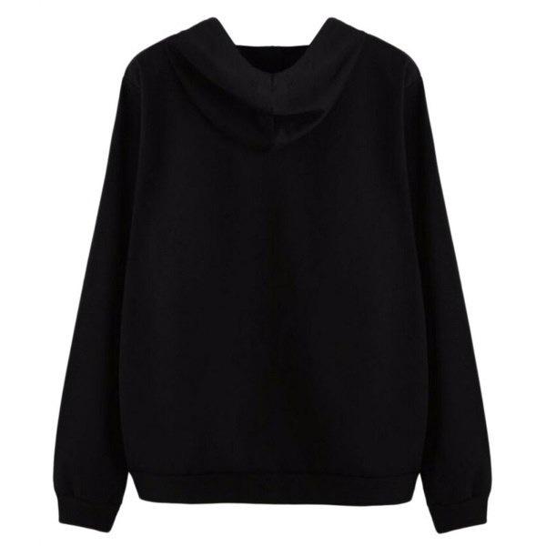 Women Long Sleeve Sweatshirt Alien Print Hoodies Pullovers Coat  Plus Size