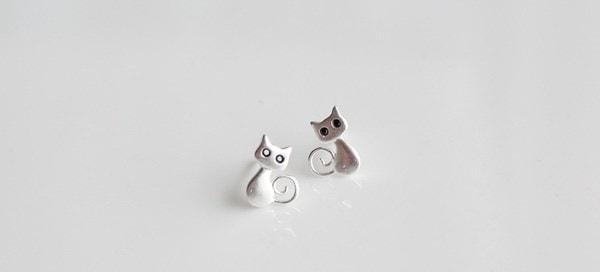 ホット販売ファッションパーソナライズスターリングシルバースタッド猫のイヤリング卸売ジュエリーPendientes Brincos