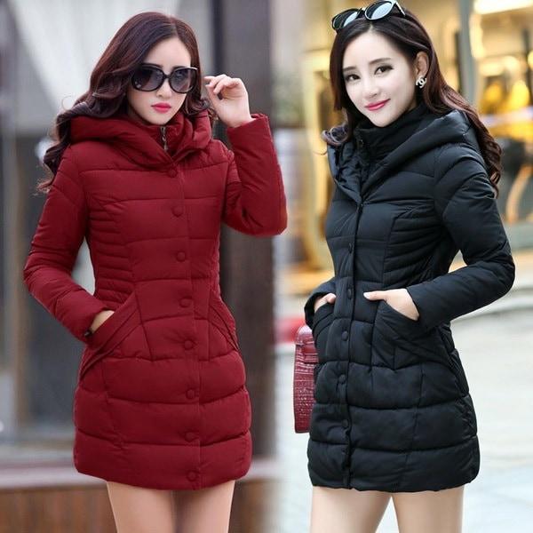 新しい冬のコートの女性の長いアウターウェアの厚いパーカー女性のダウン&パーカーコートファッションスリムカジュアルコー