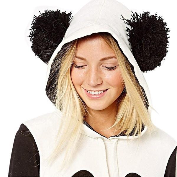 Kids Girls Teenage Lovely Panda Printed White Black Fleece Hoodie Tops Pullover IGN
