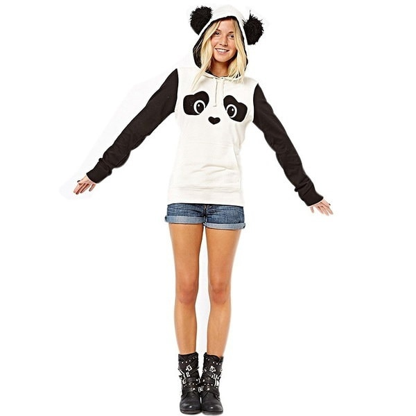 Kids Girls Teenage Lovely Panda Printed White Black Fleece Hoodie Tops Pullover IGN