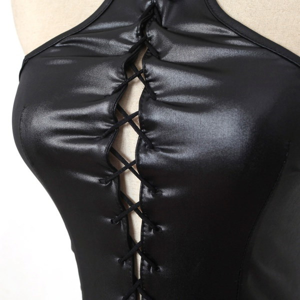 セクシーな女性のパテントレザードレスファッションダンスウェアパフォーマンスコスチューム