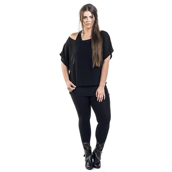 Women s Fashion Chiffon Bat Double Layer Black False Two T-Shirt Tee Tops