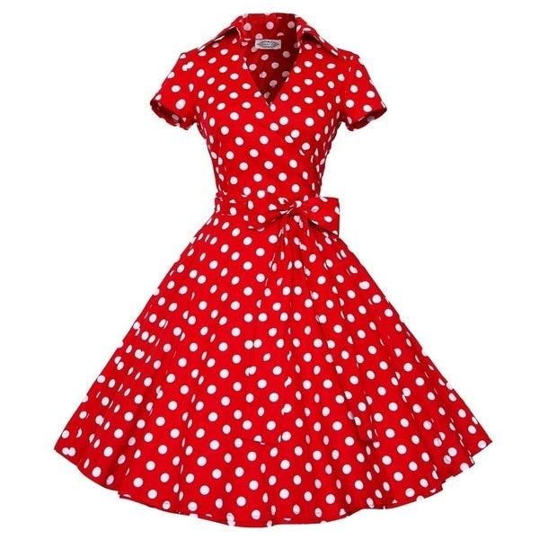女性のヴィンテージスタイル50 S 60 Sスイングピンナップレトロカジュアルな主婦のドレス