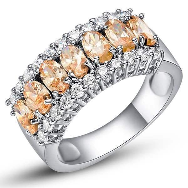 結婚式の花嫁パーティーのためのラグジュアリー18Kゴールドダイヤモンドリング、注文925銀色の多色リングリング象眼細工