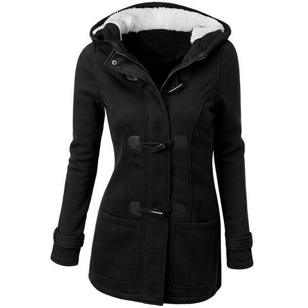 6色プラスサイズの女性のファッションウールフード付きロングスリーブウォームコート