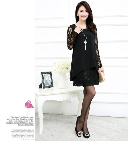 Hot Large Size Women Fat Mm Loose Dress Was Thin Short-sleeved Chiffon Dress Lace Stitching Package