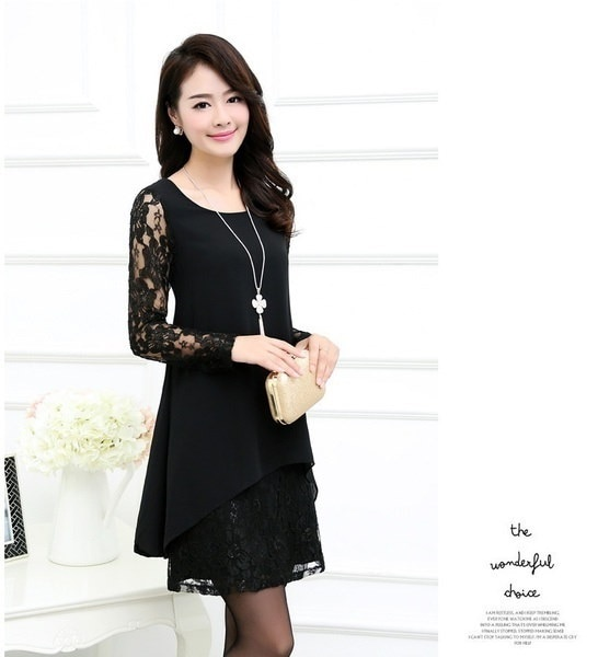 Hot Large Size Women Fat Mm Loose Dress Was Thin Short-sleeved Chiffon Dress Lace Stitching Package