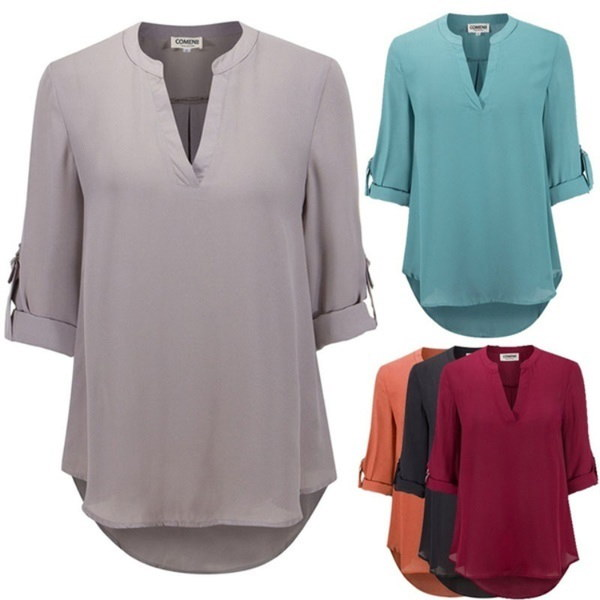 Plus Size 5XL 2017 Summer and Autumn New Womens Fashion Sexy Deep V Neck Long Sleeves Solid Chiffon