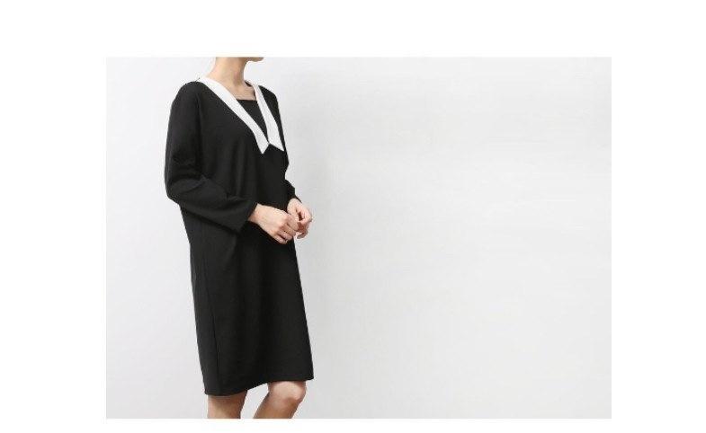 『韓国製』SELLISHOP  Modern V ワンピース「大きいサイズ 大人 韓国 ファッション・結婚式・フォマール 黒 フレア 30代 40代 50代 スレンダー・Aライン,シャツ・上品・ロング