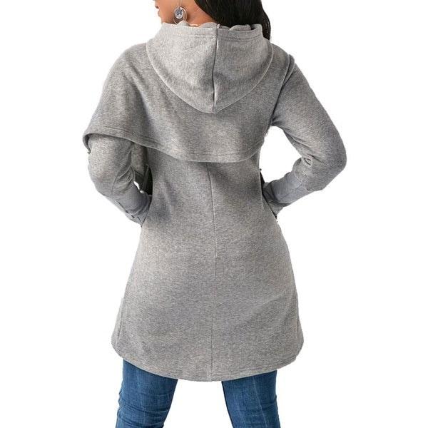 2017レディースファッション非対称裾ロングスリーブポケットパーカーカジュアルスウェット
