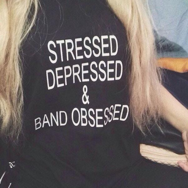 STRESSED HIP HOP PUNK style letter Printed S-XXXL Plus size Women men casual-shirt t shirts couple c