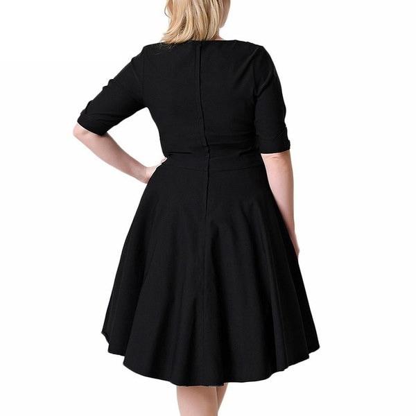 女性1950年代プラスサイズ7XL 8XLハーフスリーブVネックレトロドレスエレガントな伸縮性のあるカクテル膝丈S
