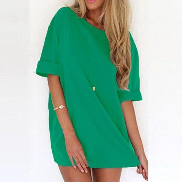 女性の半袖カジュアルソリッドプラスシャツドレスシフォンブラウストップス