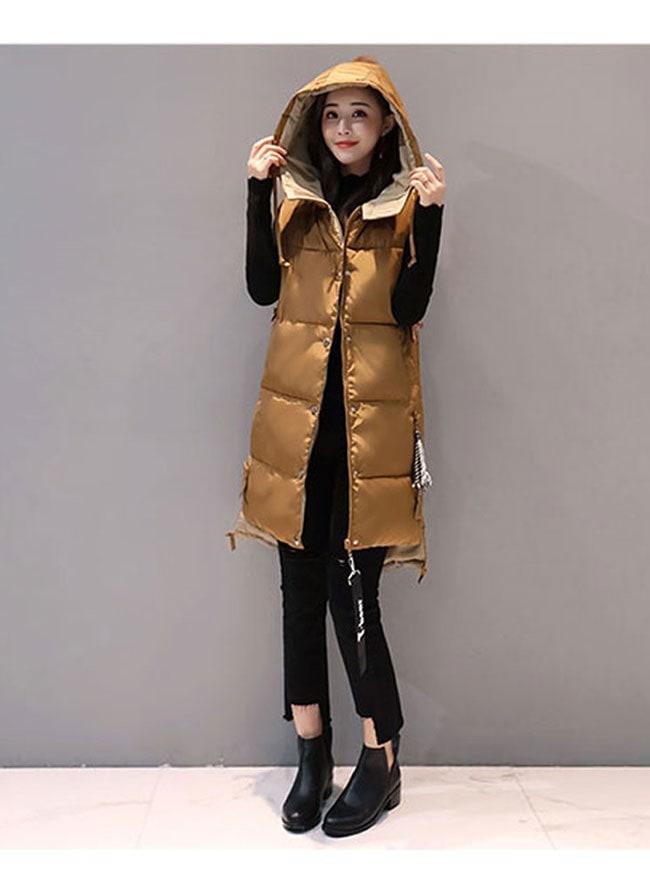 ダウンコート 中綿 ダウンベスト ロング レディース 韓国風 オシャレ 袖なし しっかりと厚手 フリンジ ブラック ベージュ グリーン 冬を暖かく過ごす 冬物 マキシ丈 シンプル
