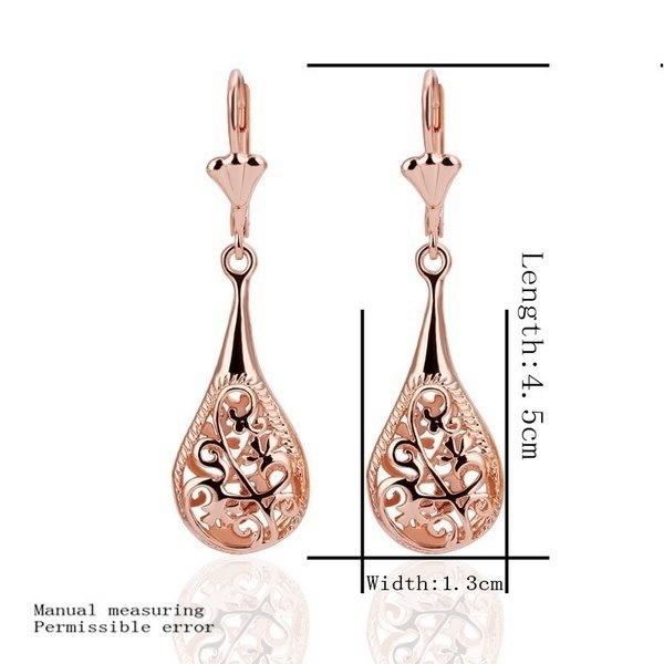 女性ファッションチェコダイヤモンドクリスタルイヤリングローズゴールドドロップイヤリングジュエリーDJY