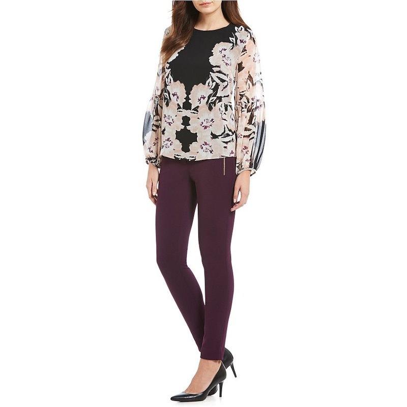 カルバンクライン レディース トップス ブラウス・シャツ【Calvin Klein Mirror Image Floral Print Georgette Peasant Top】Blush/Blac