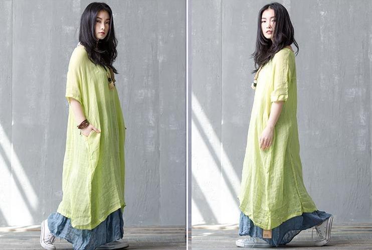 麻混 ビッグサイズ マキシ ワンピース 5分袖 シンプル シワ加工 ゆったり 体型カバー ワンサイズ