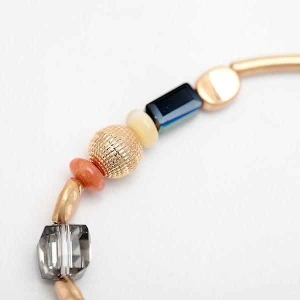 ゴールドチューブ天然石ブレスレットビンテージガラスビーズチャーム弾性ブレスレット&バングル