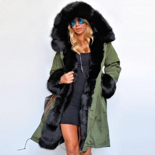 4色レディース女性フェイクファーコート秋冬ウォームフードパーカーロングトレンチジャケットアウトレット