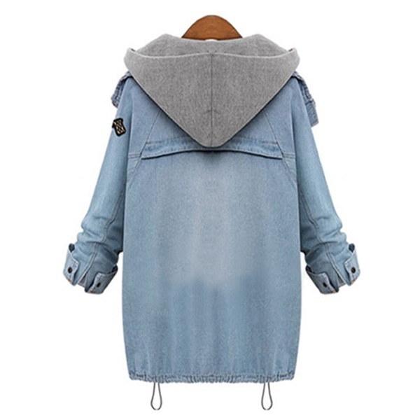 ファッション春と秋の女性二ピーススーツフード付きジャケットプラスサイズカジュアルデニムコート+スウェットシャツ