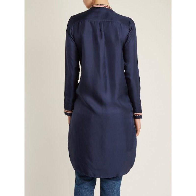 ジュップ バイ ジャッキー レディース トップス【Ribe embroidered silk-twill top】Navy