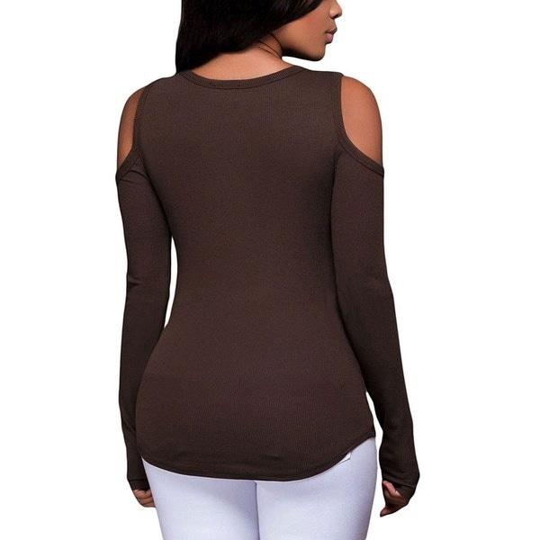 女性のセクシーなロングスリーブレースアップコールドショルダーTシャツブラウストップX2Y