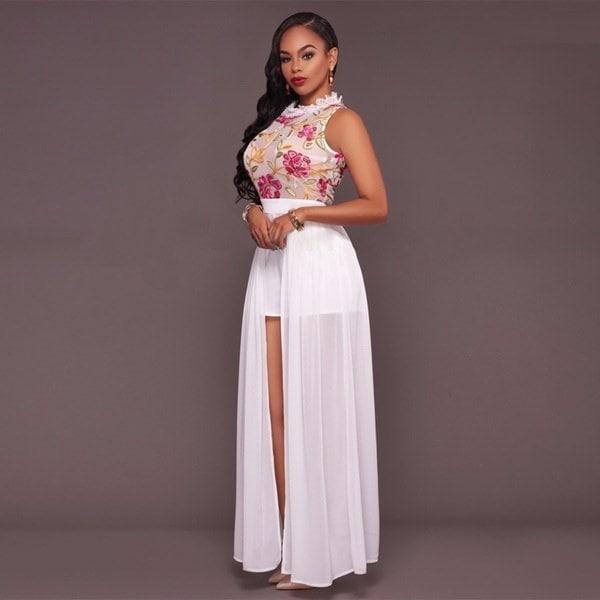女性セクシーなレースメッシュ刺繍ジャンプスーツロンパーショートズボンボディコンPlaysuitロングマキシドレス