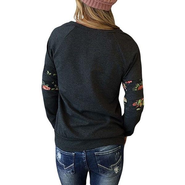 女性のファッションクルーネックフラワープリントロングスリーブプルオーバーカジュアルトップス