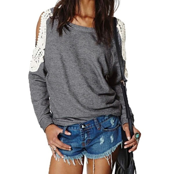 S-4XL Womens Long Sleeve Lace Off Shoulder Jumper Pullover T-shirt Tops Blouse