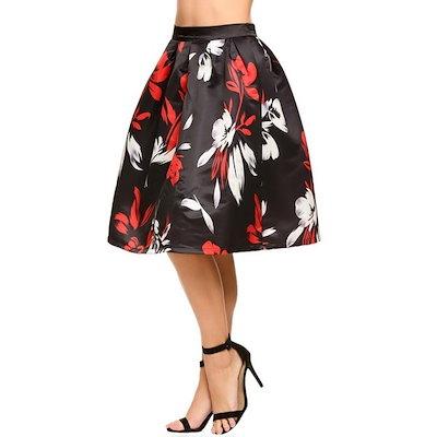 レディースレディースガールセクシーなハイウエストヴィンテージスタイルの花プリントニーバブルスカートパーティーカジュアルドレス