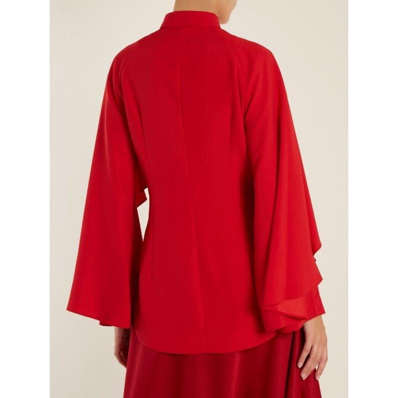 サラ バッタリア レディース トップス ブラウス・シャツ【Cape-shoulder crepe blouse】Crimson-red
