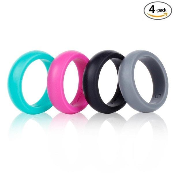 ファッションシリコーン結婚指輪バンド婚約指輪女性/男性のための4カウント