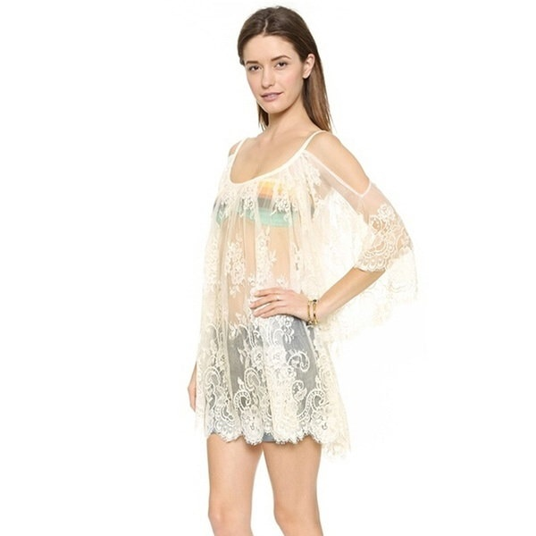 Women Transparent  Outfits Tops Lace Cover-ups Trendy Mesh Embroidery Blouse
