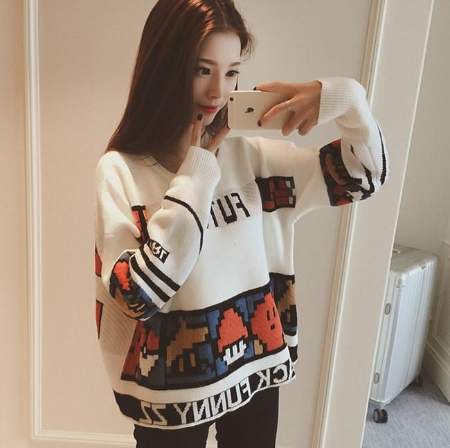 プルオーバー秋冬 BF風セーター ♥プリント ニットレディース ラウンドネック スクール風 スイート ゆったりした 美しいニットで楽ちんお洒落に♥キュート着痩せ 韓国ファッション