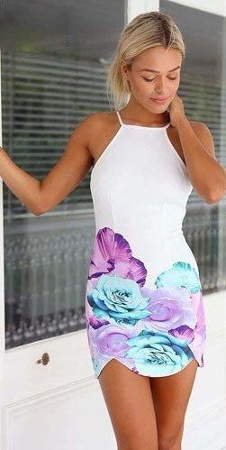 ホットファッション女性セクシーな花プリントバックレスカクテルパーティースリムミニショートドレス