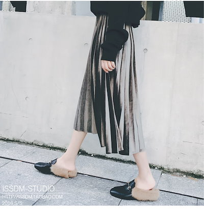 レディライク♪ ベルベット プリーツスカート ミディ丈 カジュアル